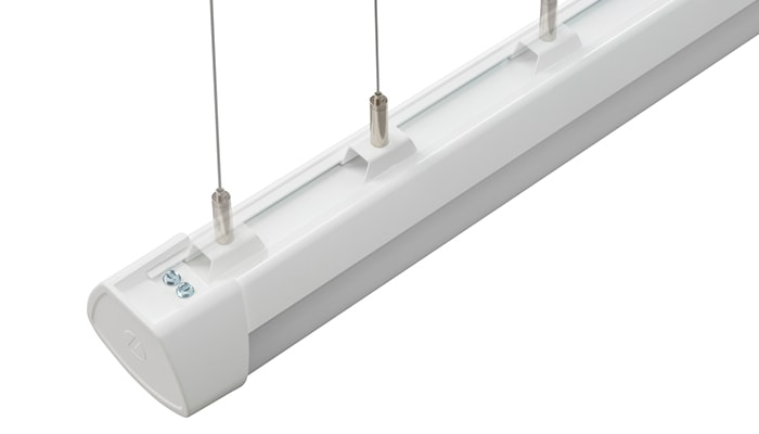 Lithonia® Linear, a suspended linear light fixture, has a single power drop at the center or end of each fixture for flexible mounting.